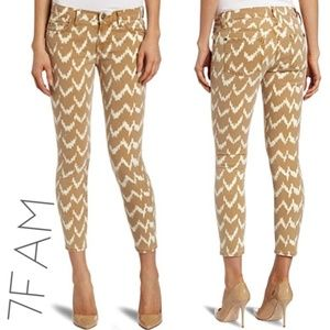 7 For All Mankind Ikat Print Cropped Skinny Jeans